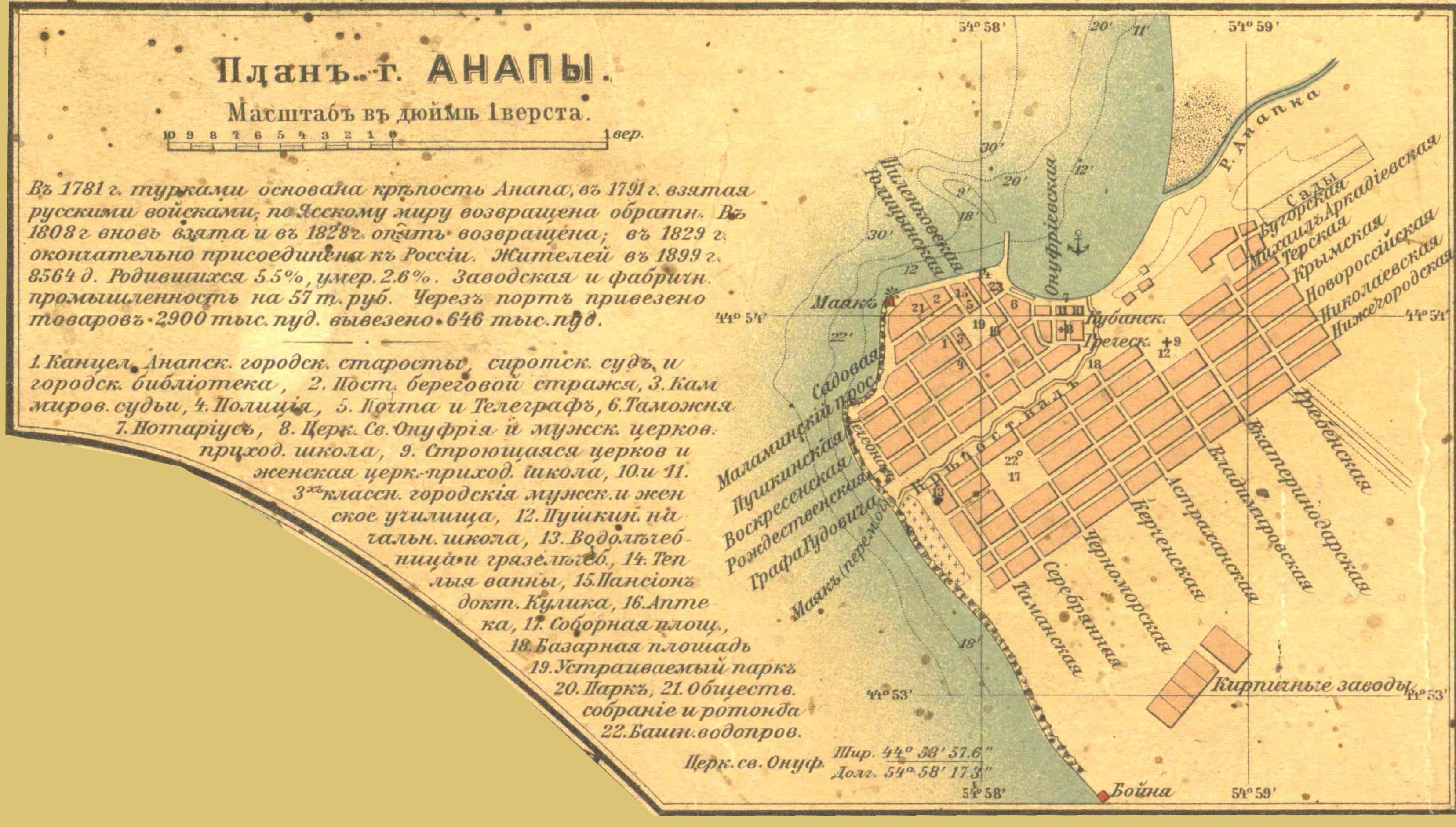 Карта Кубанской области и близких к ней Черноморской губернии и части Сухумского округа - Анапа
