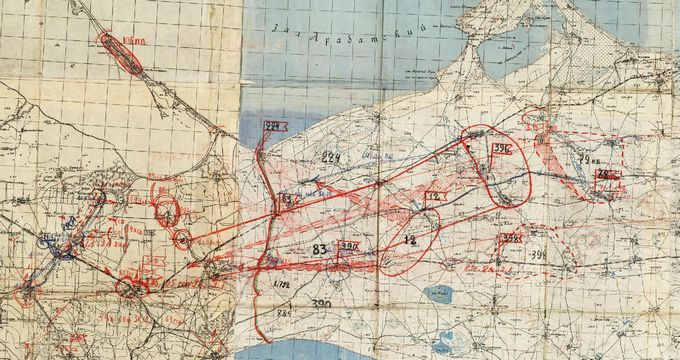 Карта Керченского полуострова с обстановкой на 31 декабря 1941 года