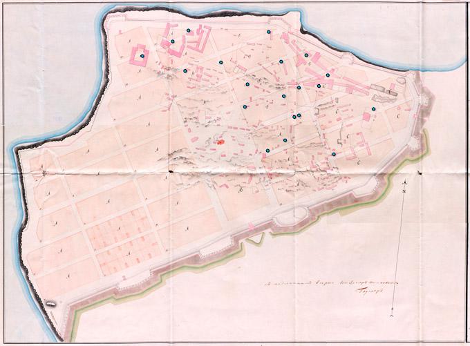 Генеральный План Анапы 1834 года с расположением колодцев (1828 год)