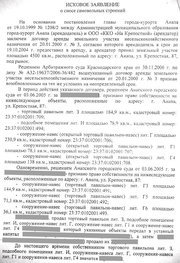 Администрация Анапы требует сноса Казачьего и Восточного рынков Для того чтобы не нагромождать блог всеми тремя исками выкладываю целиком лишь один текст двух других аналогичен есть отличия лишь в адресах и датах